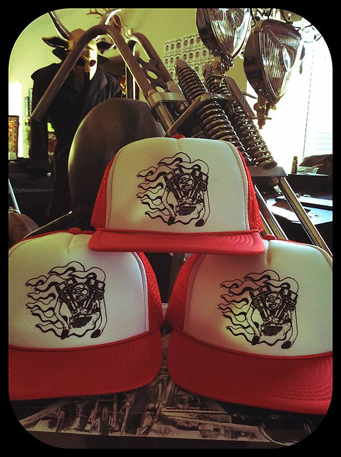 In flames Panhead engine Red & White trucker hat