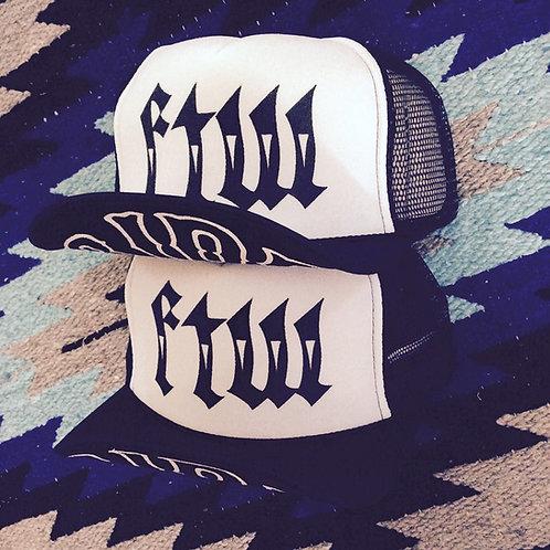 """FTW"" HOMIE STYLE WRITTING WHITE/BLACK HATS"
