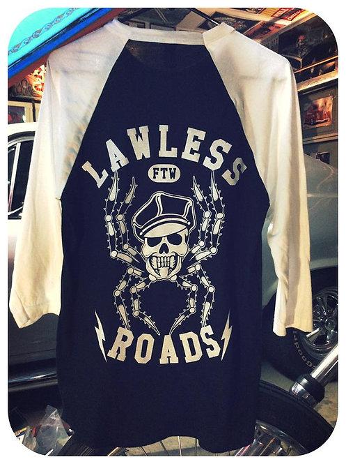 """LAWLESS ROADS"" Harley cap spider skull 3/4 shirt"
