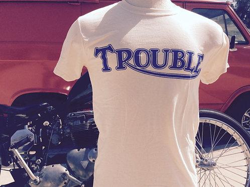 """Triumph """"TROUBLE"""" men's natural white retro shirt"""