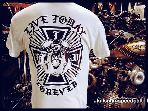 Live Today Forever Iron Cross & Engine white cotton tee shirt