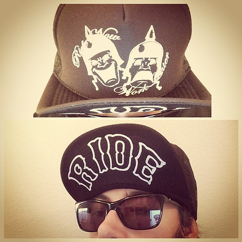 """Ride Now, Work Later"" BLACK TRUCKER HAT & ""RIDE"""