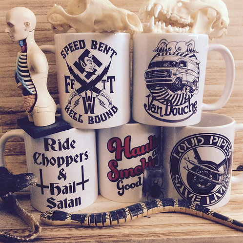 Garage, Shop, Mancave, Kitchen biker mugs!!