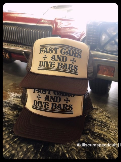 FAST CARS & DIVE BARS tan trucker hat