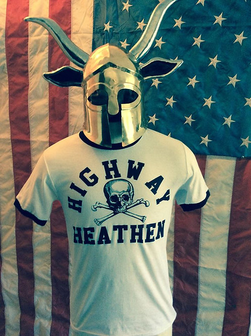 Highway Heathen skull & crossbones ringer shirt
