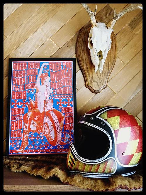 Biker Born Biker Bred glass framed print