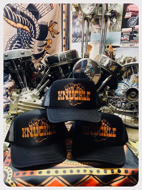 KNUCKLEHEAD ENGINE Black & Orange trucker hats