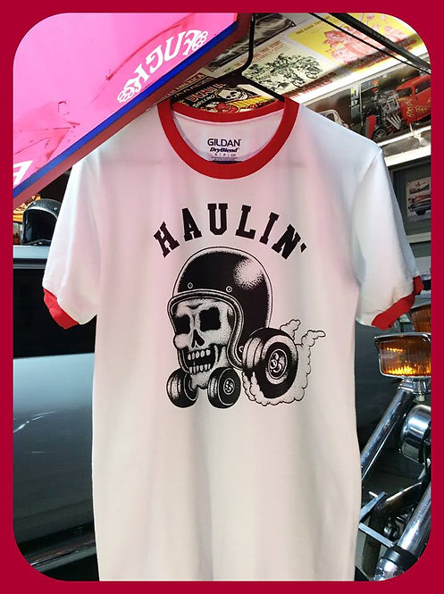 """haulin' "" Hot Rod Racing Skull ringer tee shirts"