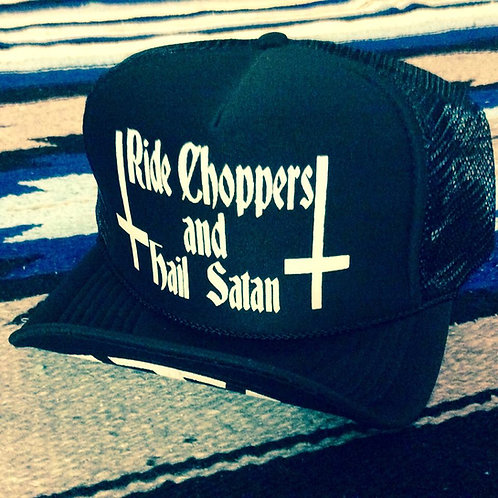 RIDE CHOPPERS HAIL SATAN BLACK TRUCKER HATS