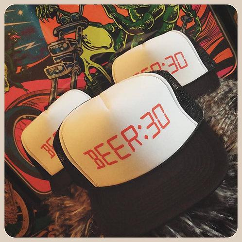 """Beer thirty"" drinking alarm clock trucker hat"