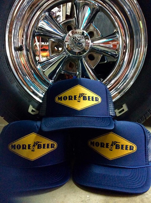 More Beer, goodyear style navy blue trucker hats