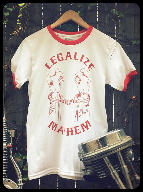 Legalize Mayhem handcuffed hands white & red ringer