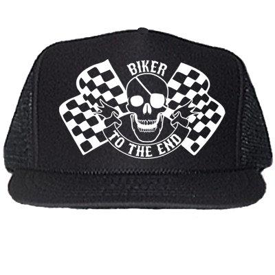 BIKER TO THE END BLACK TRUCKER HATS