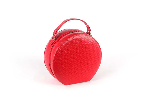 תיק מקרון אדום מעוינים