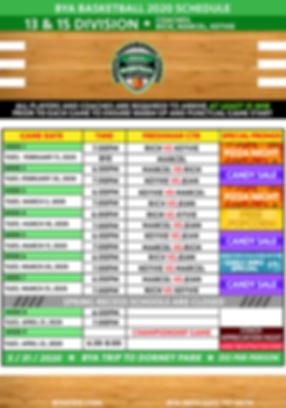 BYA 13 & 15 Division Schedule 2020