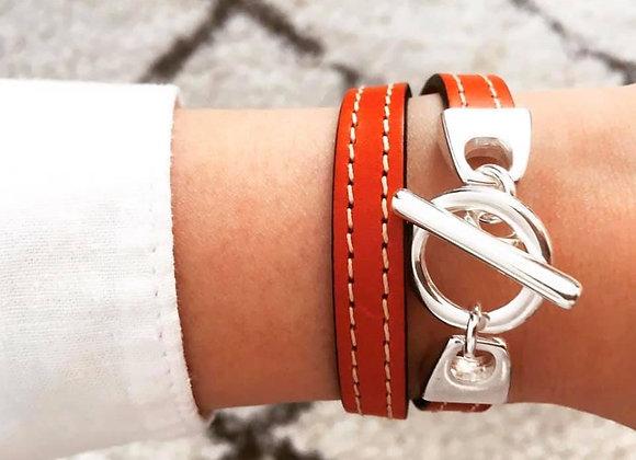 Bracelet cuir Lou Orange
