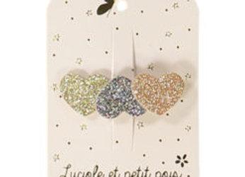 Barrettes trois coeurs – Glitter