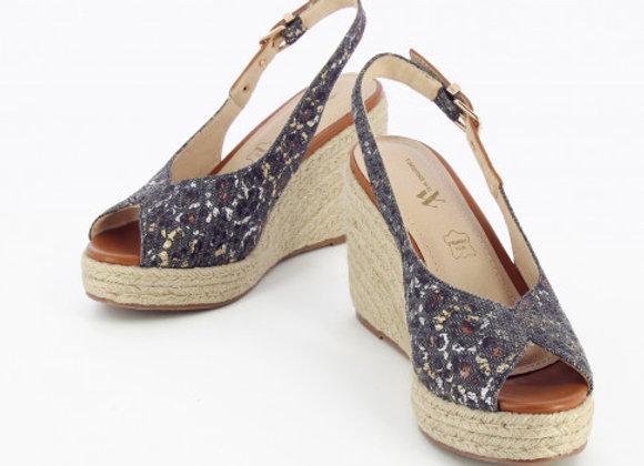 Sandales compensées anthracite
