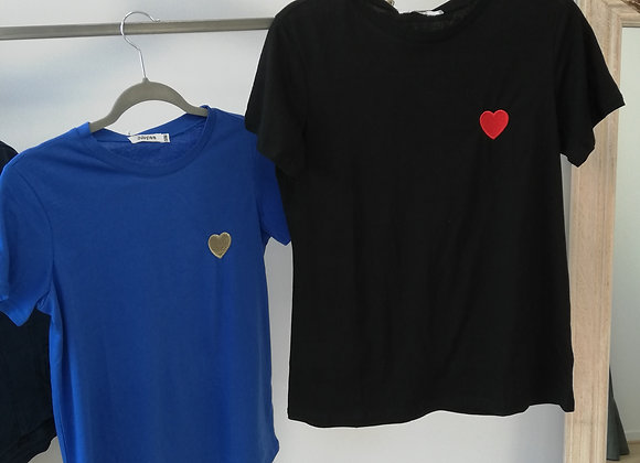 T-Shirt Noir manche courte Coeur