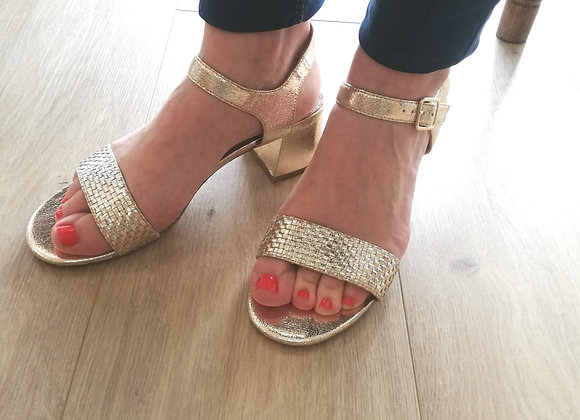 Sandales or à talin bloc