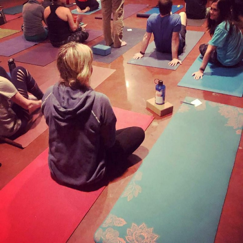 students taking yoga at Alliance Brewery