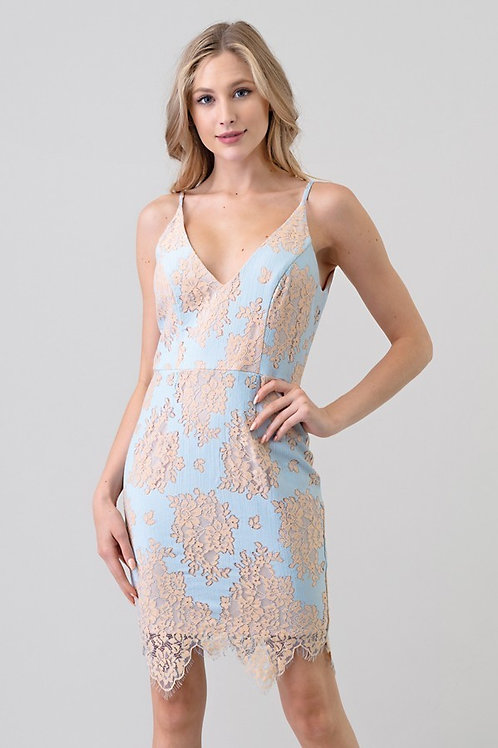 Baby Blue and Peach Lace Dress