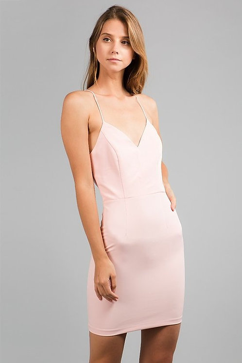 Blush Mini Lace Up Back Dress