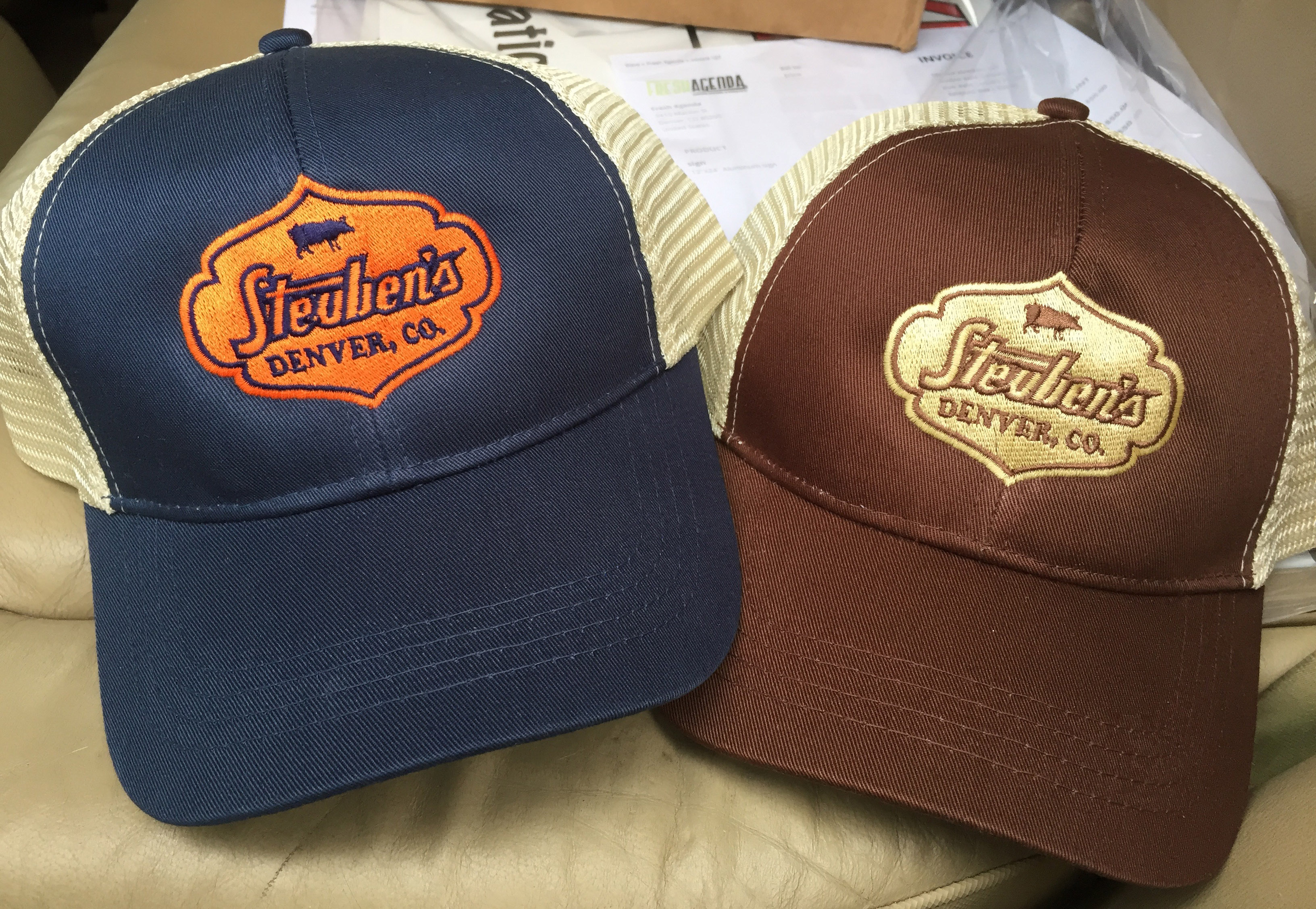 Steuben's custom embroidery hats