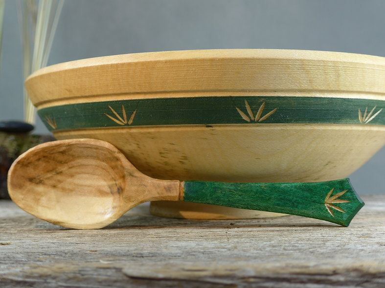 Japanese Style eating bowl with matching spoon set-decorated