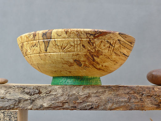 Japanese Style eating bowl with carving and repair