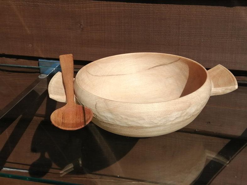 large porringer wooden bowl front view
