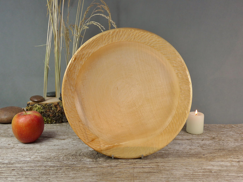Wooden Plate with carved rim
