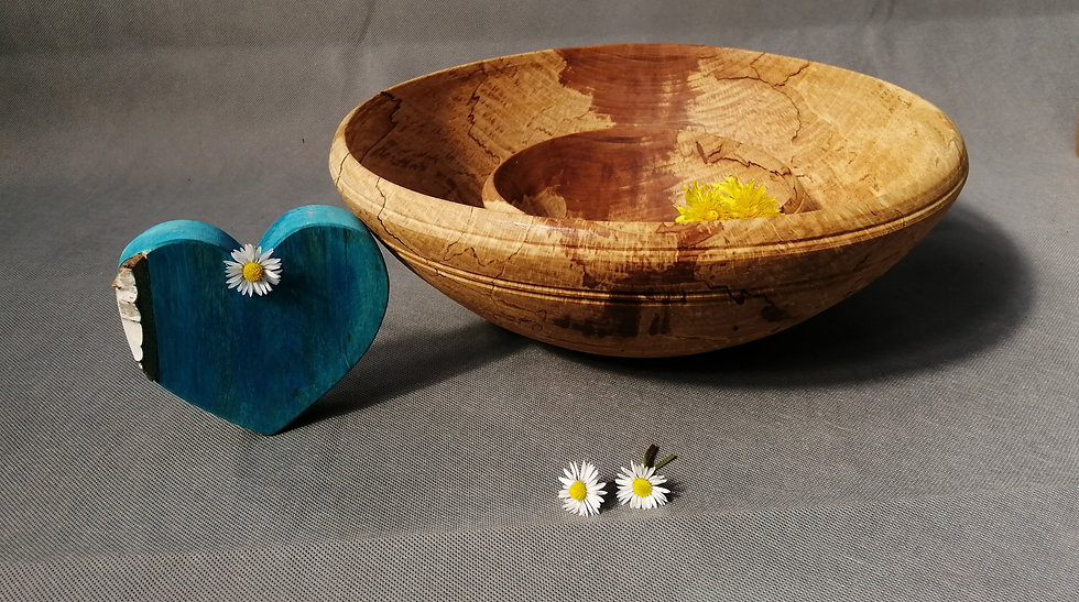 Large nested wooden bowl, spalted beech