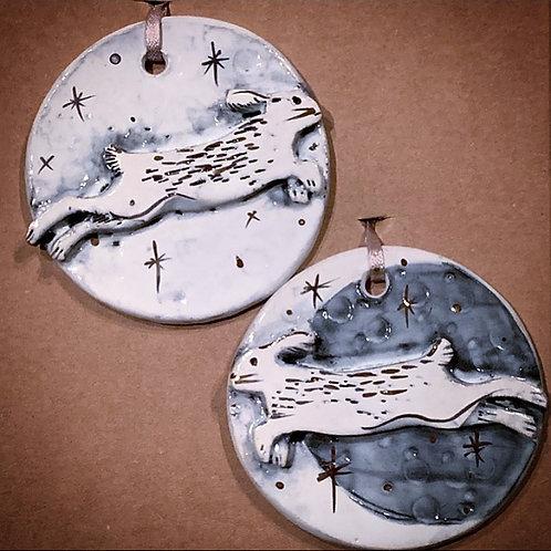 Gold Lustre Rabbit and Moon Ornament Set