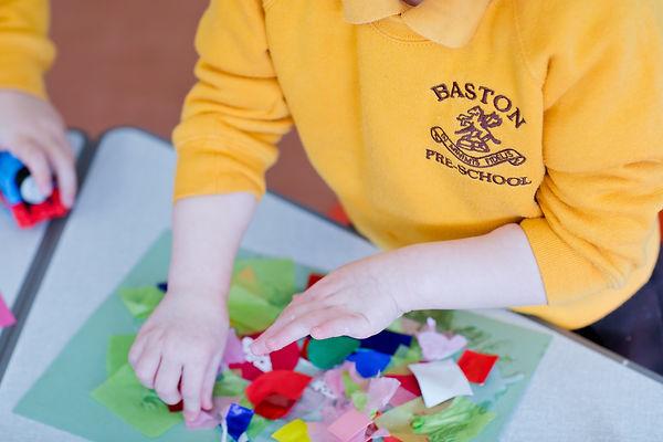 Baston Pre-School child doing arts and crafts