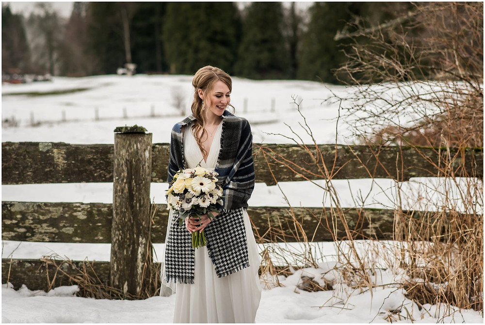 bride with snowy background