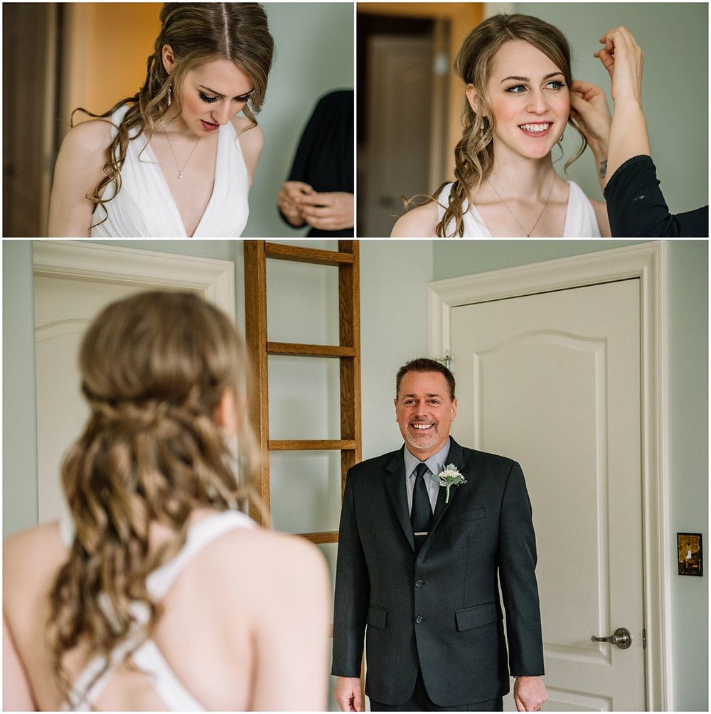 bride's first look with dad