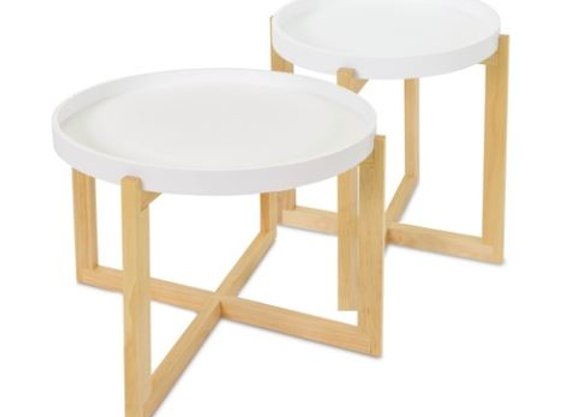 Side Table [Short - Wood / White - 43cm x 53cm diameter]