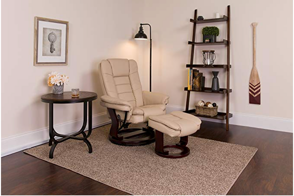 Flash Furniture Contemporary Multi-Position Recliner with Horizontal Stitching and Ottoman with Swivel Mahogany Wood Base in Beige Leather, Flash Furniture, Amazon,<https://www.amazon.com/dp/B016SORHR0/ref=dp_cerb_2>