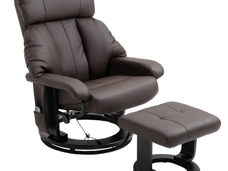 The HOMCOM PU Leather Massage Swivel Recliner chair with Ottoman