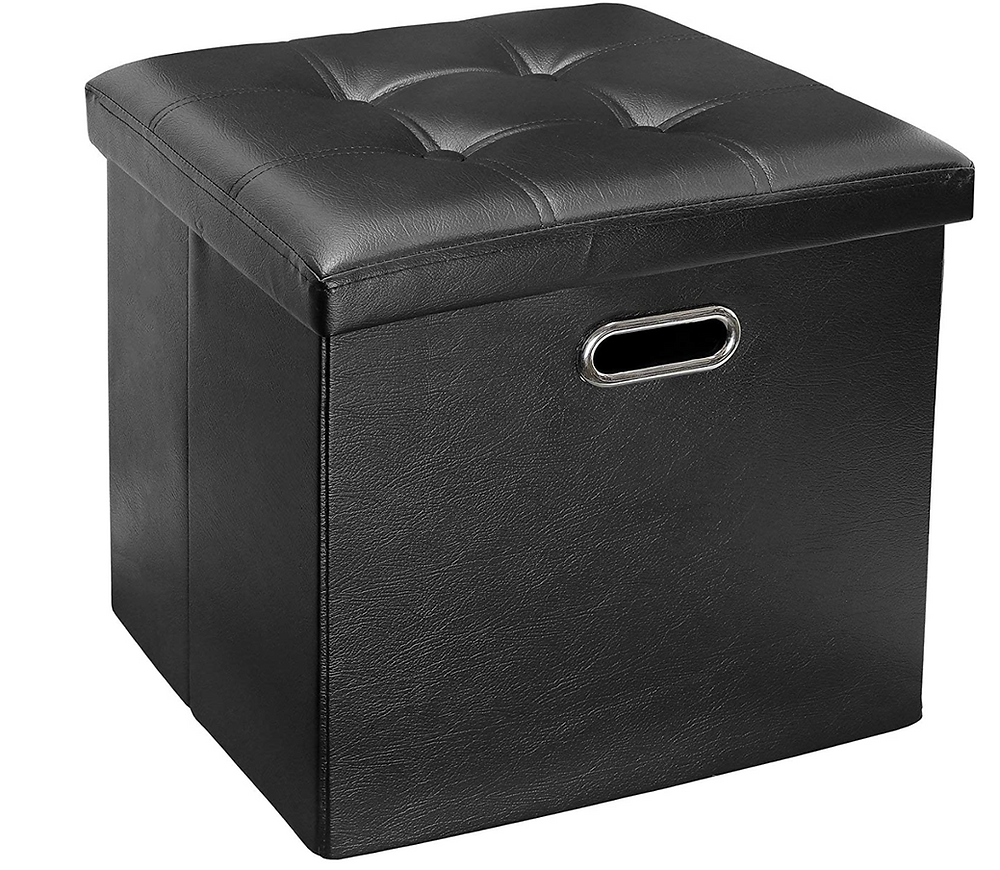 Greenco Faux Leather, Tufted, Ottoman Stool Seat and Foot Rest, Collapsible, Versatile Storage Box-Black. Greenco. Amazon. https://www.amazon.com/Greenco-Leather-Collapsible-Versatile-Box-Black/dp/B074TT4QHK/ref=sr_1_3?dchild=1&keywords=foot+stool&qid=1587329118&sr=8-3