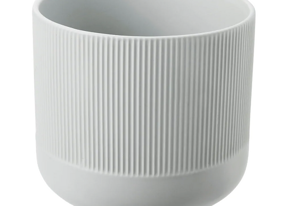 Ribbed Pot [White - 15cm]
