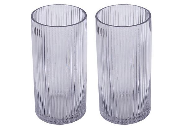 Glass Hurricane Vase [Clear Ribbed - 20cm x 9.6cm diameter]