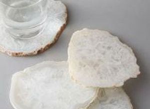 Agate Crystal Coasters [Clouded White / Gold - 9cm / 10cm diameter x 0.5cm]