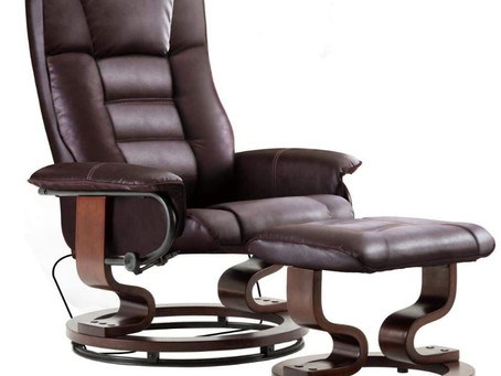 The Mcombo Leather Swiveling Recliner Chair with Wrapped Wood Base
