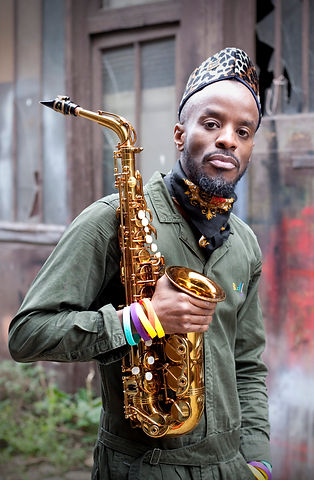 Jowee Omicil and his saxophone
