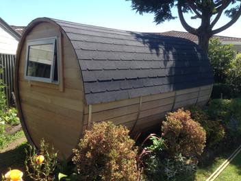 Barrel cabin back window