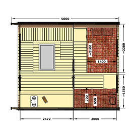 A layout for a larger cabin