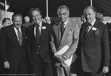 Renaissance Center, 1978, David Rockefeller, John C. Portman Jr., Coleman Young, Henry Ford II