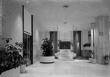 Atlanta Merchandise Mart, ca.1961, lobby, Stouffer's Restaurant, First National Bank